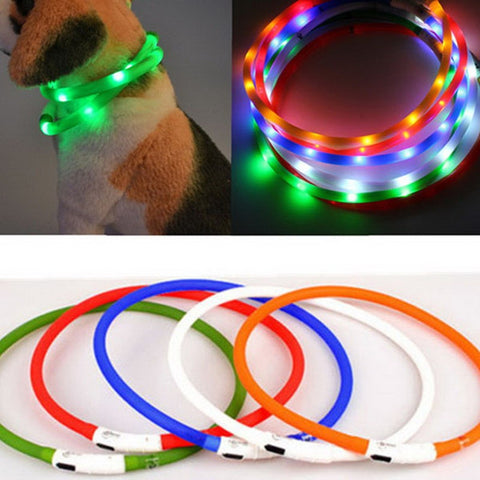 1 PC LED Silicone  Pet Dog Collar Medium-Sized