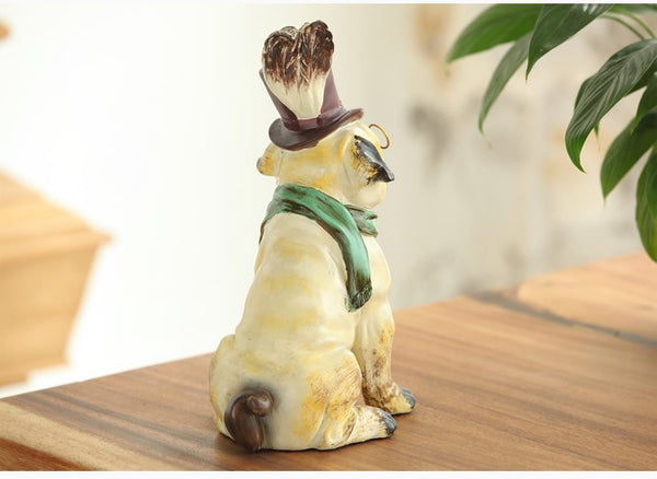 Cute Glasses Wearing French Bulldog Resin Figurine
