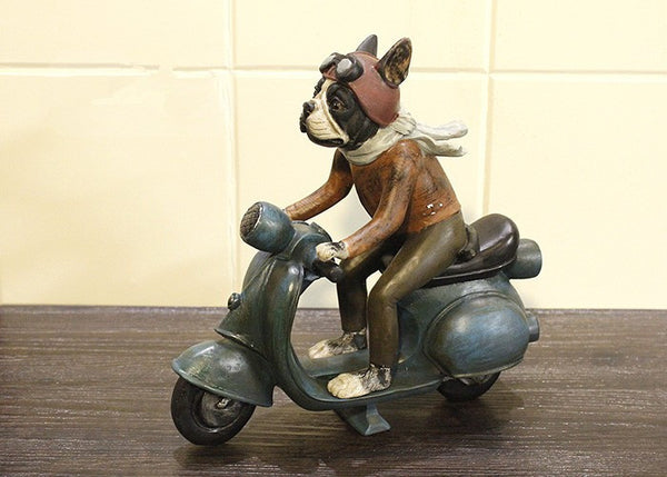 Creative French Bulldog Motorcycle Resin Figurine