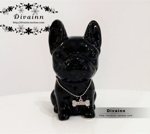 French Bulldog porcelain animal figurine decoration