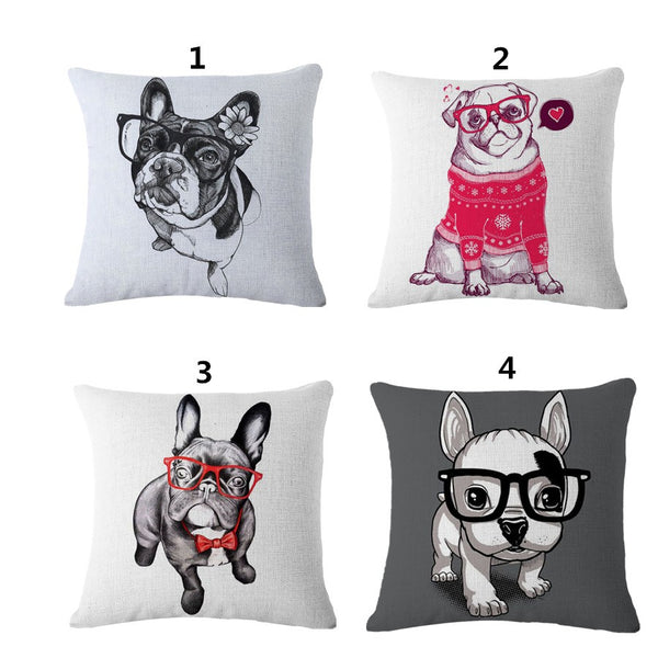 Lovely French Bulldog Cotton Linen Pillow Case