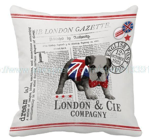 Adorable French Bulldog London Newspaper Throw Cushion Cover