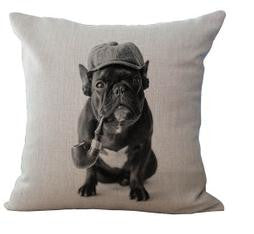Cotton Linen French Bulldog Series Cushion /  Choice Of 6
