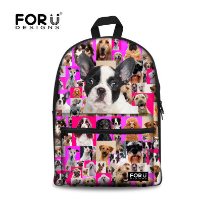 Girls Adorable French Bulldog School Backback Kids