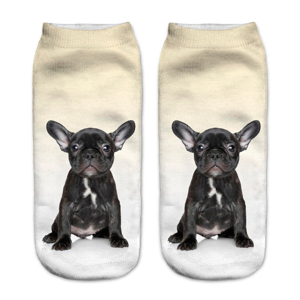 Black French BullDog Puppy Print Women Socks