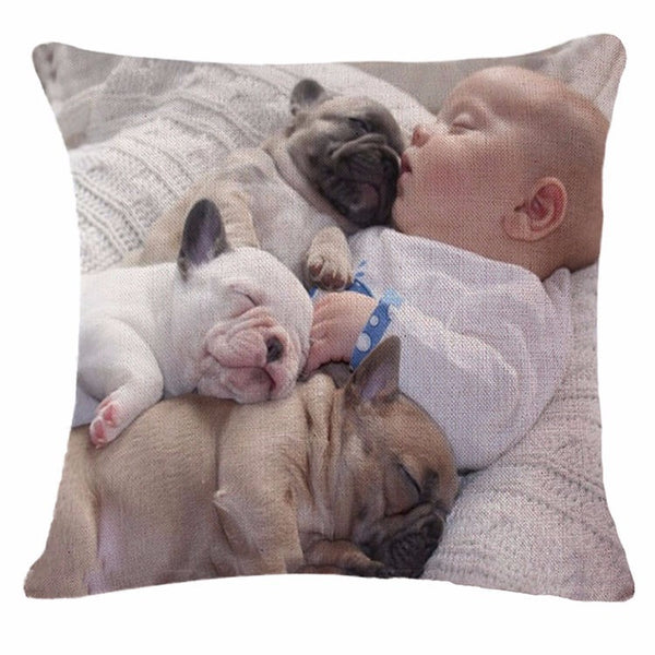 Cozy Cute Child French Bulldog Pillow Case