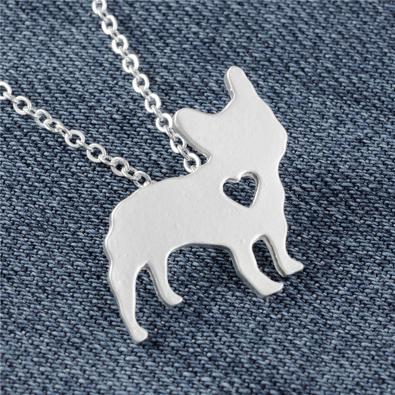 French Bulldog Necklace Matte Silver