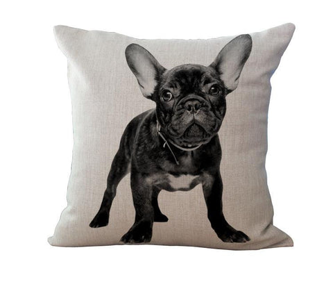 Adorable French Bulldog Linen Throw Pillow Case
