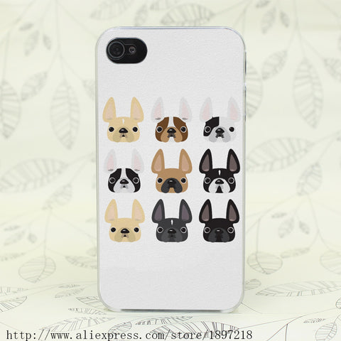 French Bulldog Friends Hard Transparent Cover Case for iphone 4 4s 5 5s 5C SE 6 6s