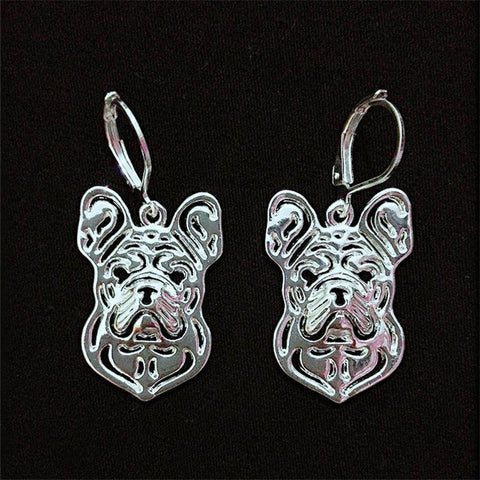 Hollow French Bulldog Hook Earrings