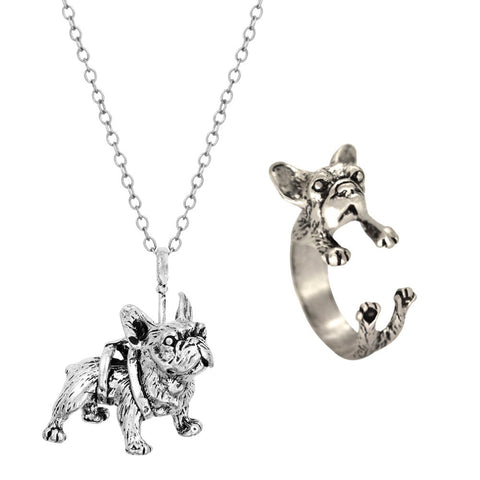 French Bulldog Ring  Pendant Vintage Necklace