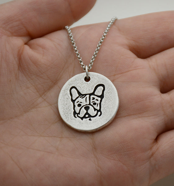 Silver French Bulldog Pendant Necklace