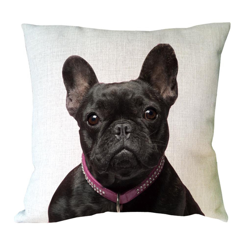 Cute French Bulldog Face Throw Pillow Case