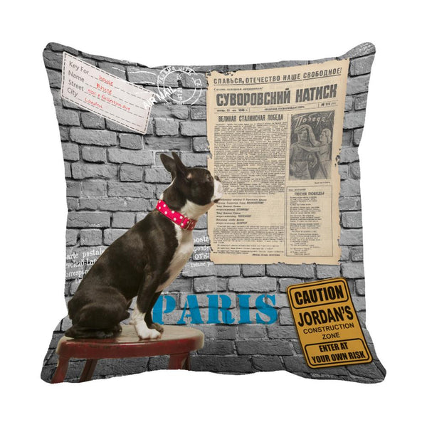 French Bulldog Throw Pillow Decorative Cushion