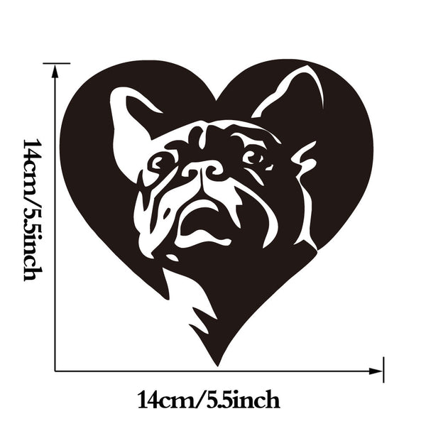 Lovely French Bulldog Vinyl Sticker Heart