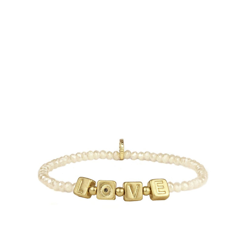 Beaded LOVE Bracelet- Crystal/Gold