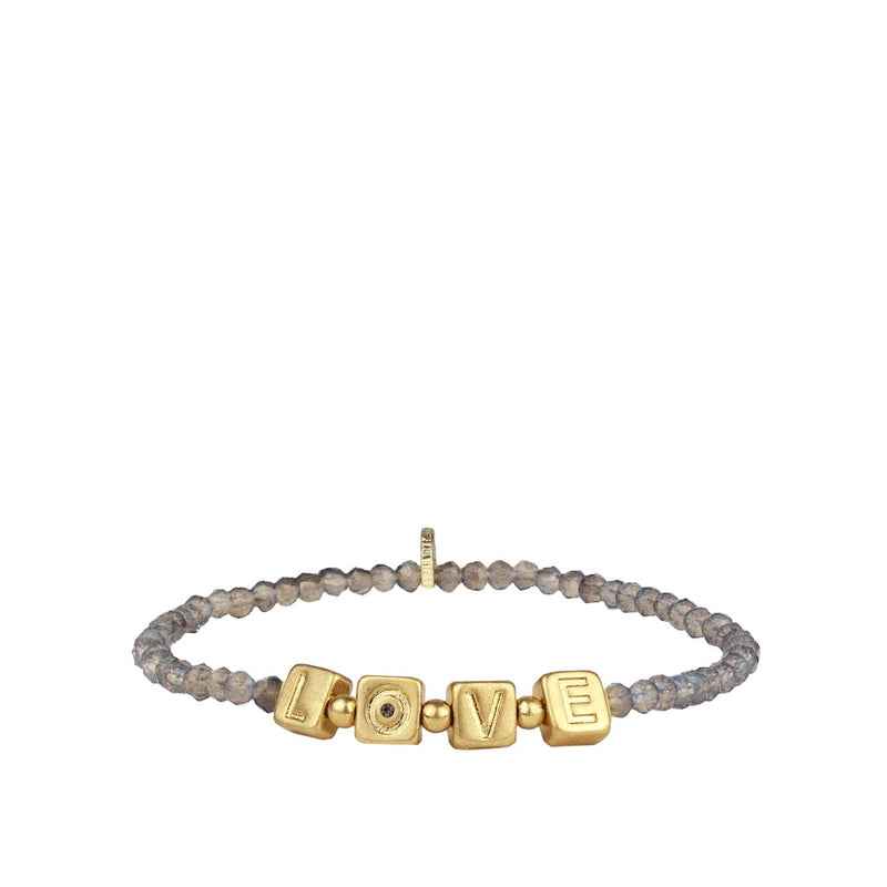 Beaded LOVE Bracelet- Grey/Gold
