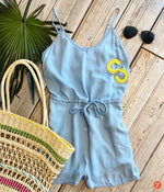 C&A Drawstring Romper- Denim