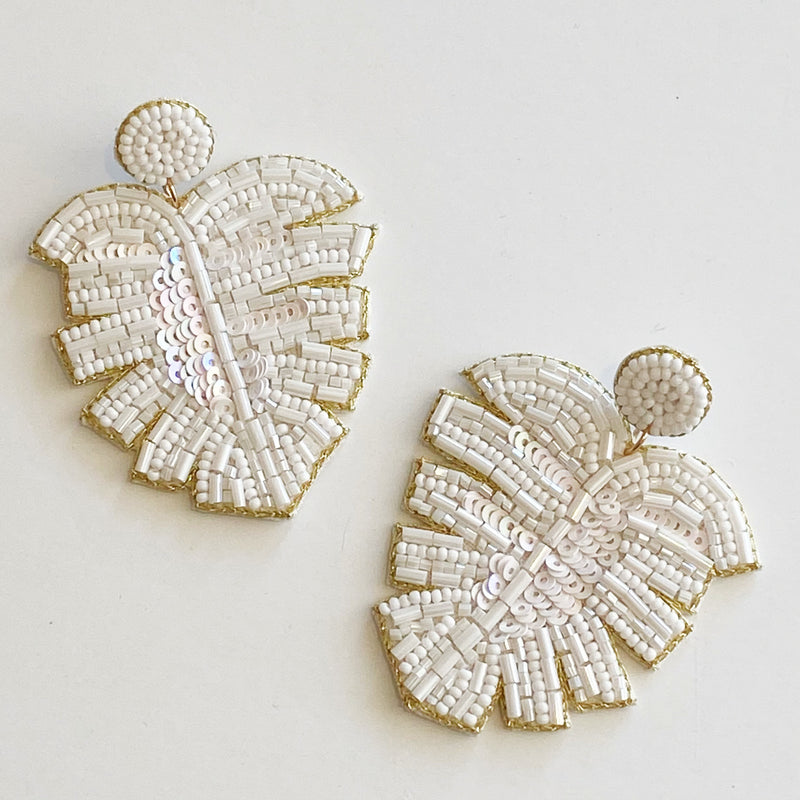 Beaded Earring- White Leaf