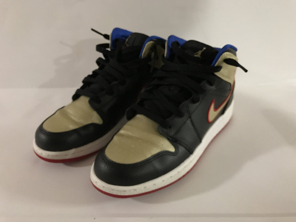 "Air Jordan 1 Mid ""Black/Red Metallic Gold"", Consignment, Air Jordan - SNEAKER OVEN"