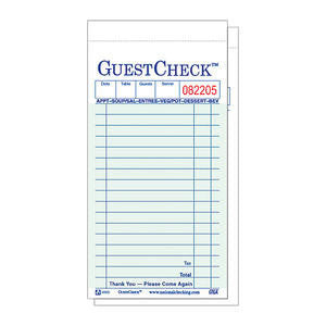 National Checking Company  6000G  Guest Check 3 5/16'' x 6'' (SET OF 2500 PER CASE)