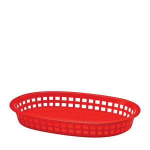 Tablecraft  1076R  Chicago Platter Basket Oval Red 10 1/2'' x 7'' x 1 1/2'' (SET OF 36 PER CASE)