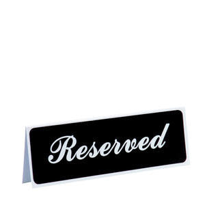 Vollrath Company  4135  Traex Sign ''Reserved'' White on Black 3'' x 8'' (1 EACH)