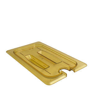 Cambro Manufacturing  40HPCHN150  H-Pan Cover Fourth Size Notched with Handle Amber (1 EACH)