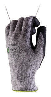 Ansell 11-435-7 Size 7 HyFlex 13 Gauge Medium Weight Cut And Abrasion Resistant Dark Gray Water Based Polyurethane Palm Coated Work Gloves With Gray Dyneema, Lycra, Nylon, Glass Fiber Liner And Knit Wrist  (1/PR)