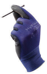 Ansell 11-618-10 Size 10 HyFlex 18 Gauge Ultra Light Weight Multi-Purpose Abrasion Resistant Black Polyurethane Palm Coated Work Gloves With Blue Nylon Liner And Elastic Knit Wrist  (1/PR)