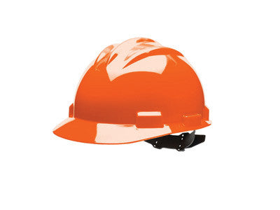 Bullard 61ORR Orange Standard S61 HDPE Cap Style Hard Hat With Flex Gear 4  Point Ratchet Suspension, Accessory Slots, Absorbent Cotton Brow Pad, And
