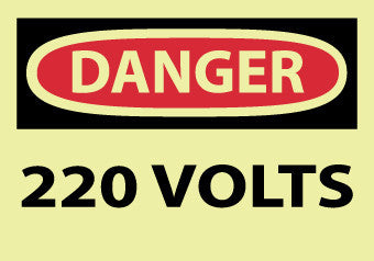 NMC GD100AP-DANGER, 220 VOLTS, 3X5, PS VINYLGLOW (PAK OF 5)