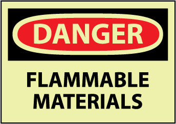 NMC GD39RB-DANGER, FLAMMABLE MATERIALS, 10X14, RIGID PLASTICGLOW (1 EACH)