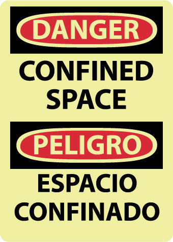 NMC GESD100PB-DANGER, CONFINED SPACE, BILINGUAL, 14X10, PS GLOW VINYL (1 EACH)