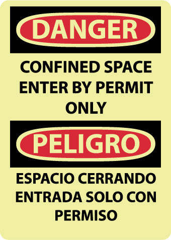 NMC GESD101RB-DANGER, CONFINED SPACE ENTER BY PERMIT ONLY, BILINGUAL, 14X10, GLO RIGID PLASTIC (1 EACH)