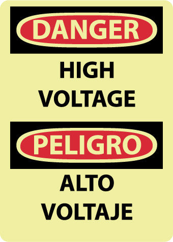 NMC GESD102RB-DANGER, HIGH VOLTAGE, BILINGUAL, 14X10, GLO RIGID PLASTIC (1 EACH)