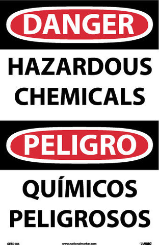 NMC GESD104RB-DANGER, HAZARDOUS CHEMICALS, BILINGUAL, 14X10, GLO RIGID PASTIC (1 EACH)
