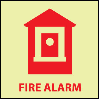 NMC GL148R-FIRE, FIRE ALARM, 7X7, RIGID PLASTICGLOW (1 EACH)