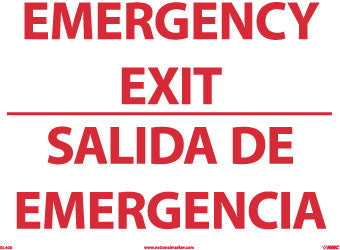 NMC GL400PB-EMERGENCY EXIT, BILINGUAL, 10X14, PS GLO VINYL (1 EACH)