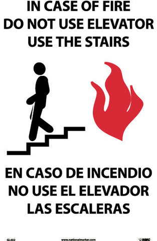 NMC GL402RB-IN CASE OF FIRE DO NOT USE ELEVATOR USE THE STAIRS (GRAPHIC(, BILINGUAL, 14X10, GLO RIGID PLASTIC (1 EACH)