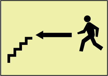 NMC GL61R-STAIRS LEFT ARROW MAN GRAPHIC, 7X10, GLOW RIGID (1 EACH)