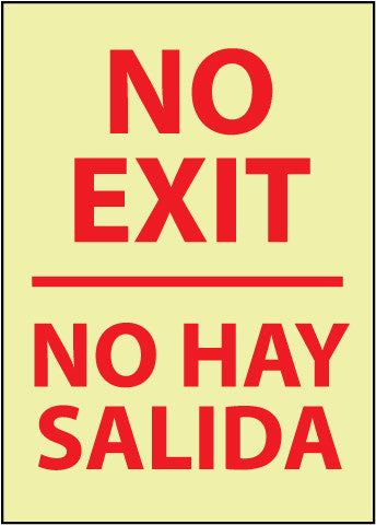NMC GL64PC-NO EXIT (BILINGUAL), 20X14, PS GLOW (1 EACH)