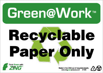 NMC GW1026-RECYCLEABLE PAPER ONLY, 7X10, RECYCLE PLASTIC (1 EACH)