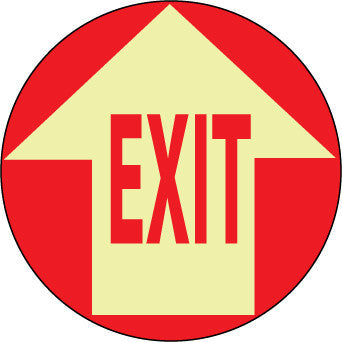 NMC GWFS9-FLOOR SIGN, GLOW WALK ON, EXIT W/ARROW, 17'' DIA (1 EACH)