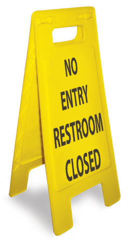 NMC HDFS206-FLOOR SIGN, HEAVY DUTY, NO ENTRY RESTROOM CLOSED, ENGLISH ONLY,  24 5/8 X 10 3/4 (1 EACH)