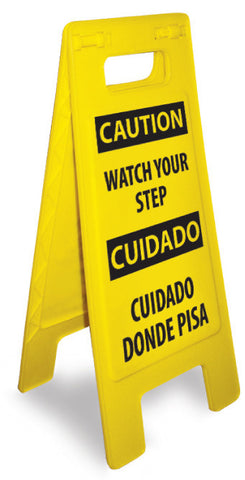 NMC HDFS208-HEAVY DUTY FLOOR SIGN, CAUTION WATCH YOUR STEP (BILINGUAL), 24.63X10.75 (1 EACH)