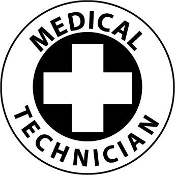 NMC HH49-HARD HAD EMBLEM, MEDICAL TECHNICIAN, 2'' DIA, PS VINYL (PAK OF 25)