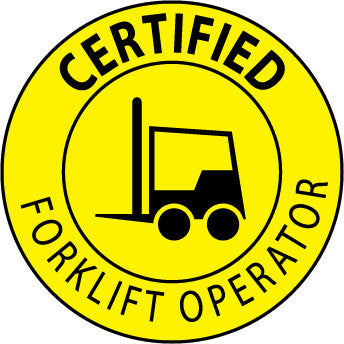 NMC HH67-HARD HAT EMBLEM, CERTIFIED FORKLIFT OPERATOR, 2 DIA, PS VINYL (PAK OF 25)