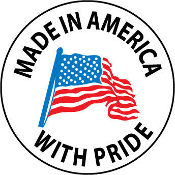 NMC HH75-HARD HAT EMBLEM, MADE IN AMERICA WITH PRIDE, 2 DIA, PS VINYL (PAK OF 25)