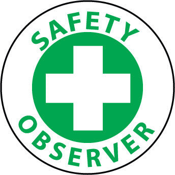 NMC HH78-HARD HAT EMBLEM, SAFETY OBSERVER, 2 DIA, PS VINYL (PAK OF 25)